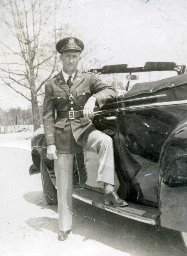 """1st Lt. James """"Dick"""" Wright shown in uniform during World War II."""