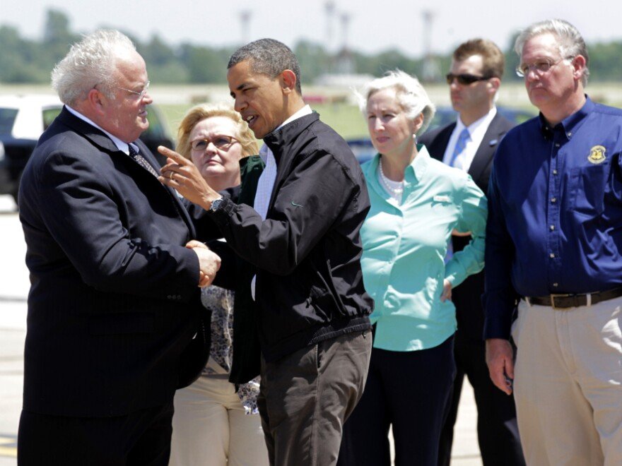 Rep. Billy Long talks with President Obama after arriving in Joplin, Mo., to visit tornado victims. The Tea Party freshman has faced criticism over his efforts to get federal aid for his Missouri district, which includes Joplin.
