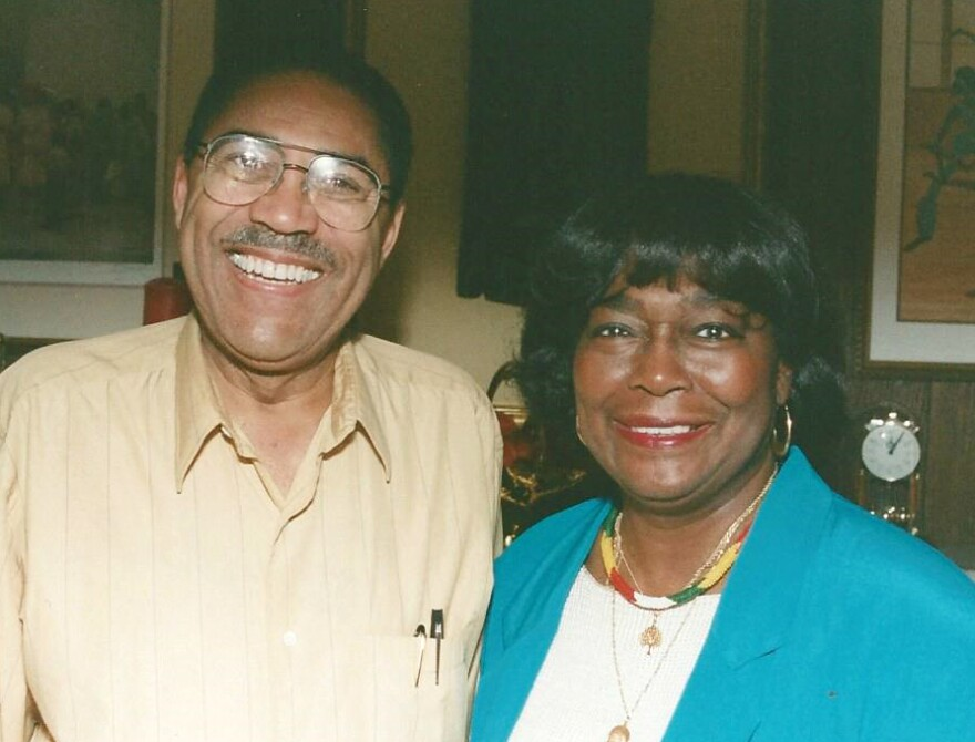 Bill Clay was still in Congress in 1998, when this picture with Pearlie Evans was taken.