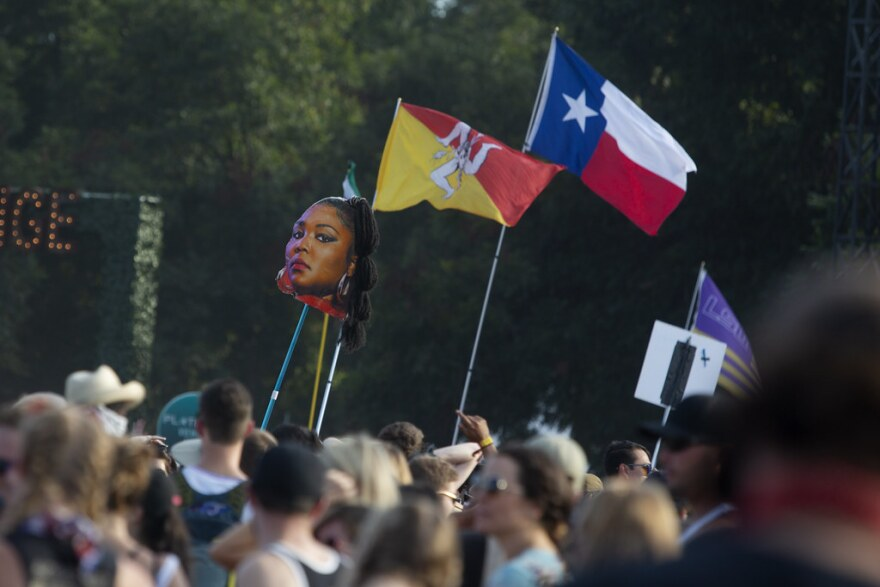 Lizzo makes an appearance, in the form of a totem, before her show at ACL Fest Sunday evening of weekend one.