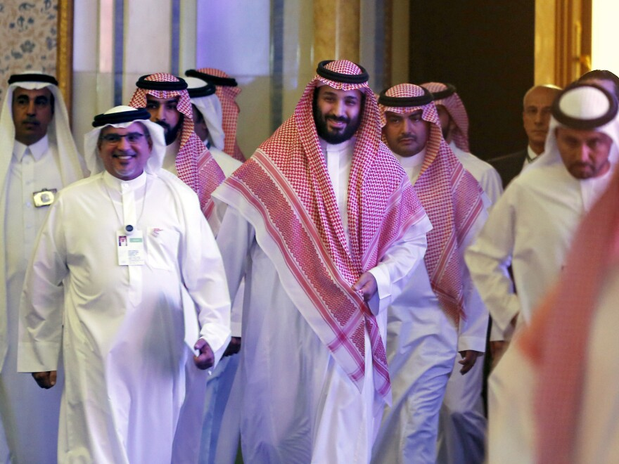 Saudi Crown Prince Mohammed bin Salman attends the Future Investment Initiative conference, in Riyadh, Saudi Arabia, on Oct. 24, 2018. Many major executives backed out of the event after the killing of journalist Jamal Khashoggi. This year, some of the big corporate names are expected to return.