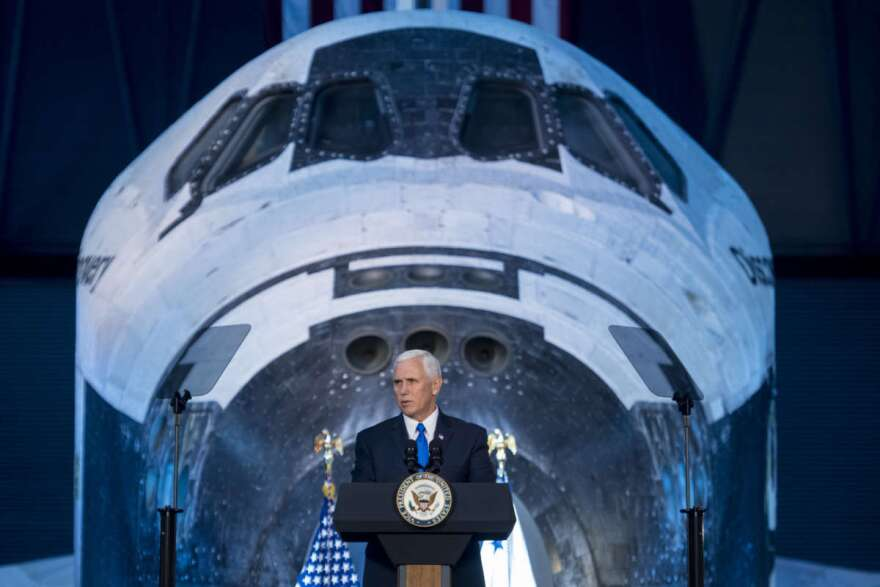Vice President Mike Pence delivers opening remarks during the National Space Council's first meeting, Thursday, Oct. 5, 2017 at the Smithsonian National Air and Space Museum's Steven F. Udvar-Hazy Center in Chantilly, Va.  Photo Credit: (NASA/Joel Kowsky)