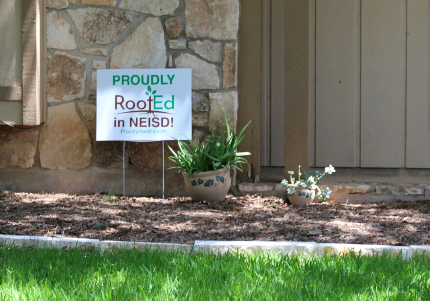 RootEd yard sign in the Oak Meadow neighborhood of North East ISD.