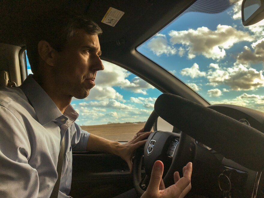 Former Texas Rep. Beto O'Rourke drives between campaign stops in Mount Vernon, Iowa, and Cedar Rapids earlier this month.
