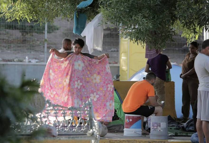 Cuban migrants sleeping in a small camp on the side of the Gateway International Bridge in Matamoros, Mexico on July 30, 2019. Cubans make up the largest number of asylum seekers stuck at the Mexican border.