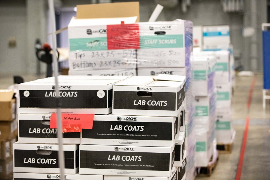 Medical supplies is stored at Austin Public Health's Alternative Care Site, which is a field hospital set up at the Austin Convention Center to treat COVID-19 patients if needed.