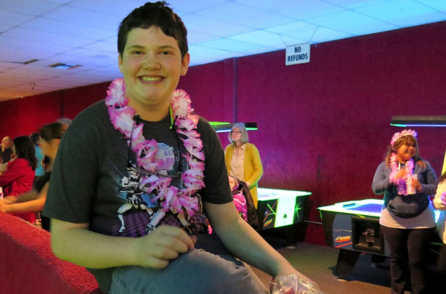 "Students attend Friday night's ""Aloha Prom,"" held by the Multnomah Education Service District of Portland, Ore. Teacher Brett Bigham created the prom for special needs students five years ago."