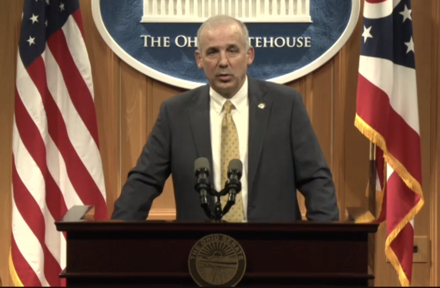Senate President Matt Huffman (R-Lima) during a virtual press conference.