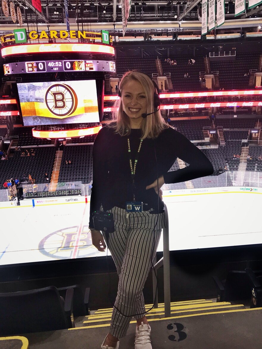 "Allie Clancy, an aspiring TV producer, had to cut short her dream internship at Boston's TD Garden arena. ""I'm trying to get used to the idea that I might not get a job in my field for a little while."""