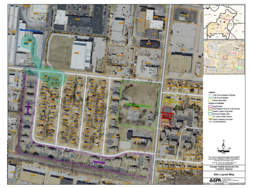"The ""plume"" of TCE-contaminated groundwater in Elmwood Park is shown in light blue in the top left of this map."