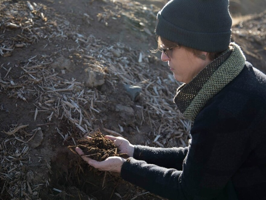 Lani Estill has started incorporating climate-friendly farming practices on her ranch, such as composting. Now, her ranch takes the equivalent of 850 cars worth of carbon dioxide out of the air and into the ground.
