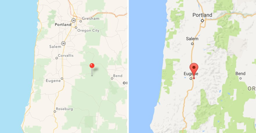 Apple (left) and Google screenshots of the Willamette National Forest. The pins in each image indicate where each app says the forest is located, when searched.
