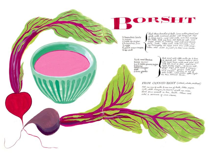 One of Cipe Pineles' many illustrated recipes in the newly published cookbook, <em>Leave Me Alone With the Recipes: The Life, Art & Cookbook of Cipe Pineles</em>.<em></em>