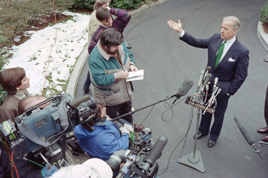 Senator Joseph Biden, D-Del., speaks to reporters after meeting with US President Bill Clinton at the White House on February 10, 1995 to discuss Dr. Henry Foster's nomination for surgeon general. (DAVID AKE/AFP via Getty Images)