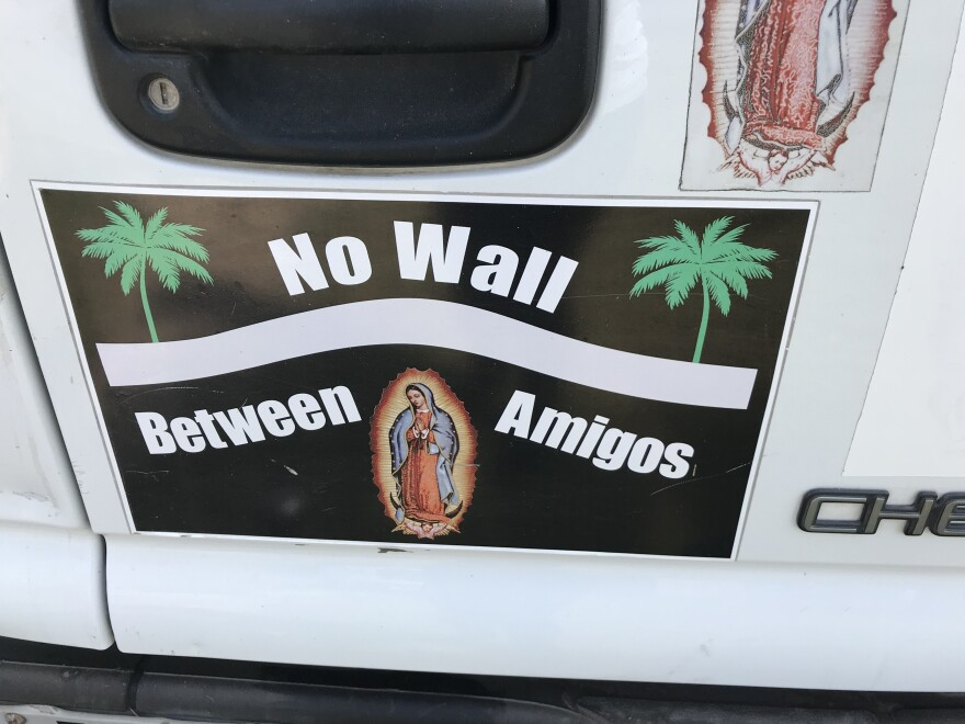 A bumper sticker on Father Roy Snipes' car.