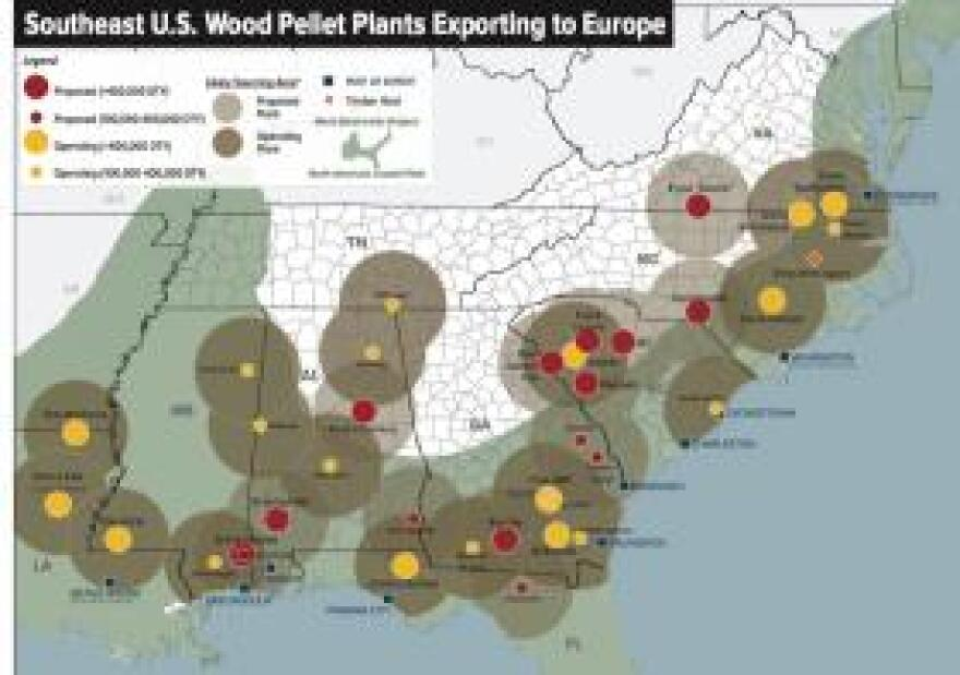 This map shows operating and proposed pellet mills across ten southeastern U.S. states.