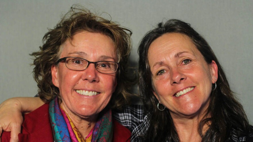 Lori Daigle, 55, and Liz Barnez, 54, at StoryCorps in Fort Collins, Colo.
