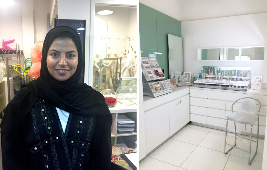 """May Saja (left), general manager of merchandising at the Harvey Nichols department store, says the election was """"just the beginning,"""" but also that """"it's not easy to change the mindset of a whole country."""" On the right: one of the private makeup rooms Princess Reema put into the store to make female customers more comfortable."""