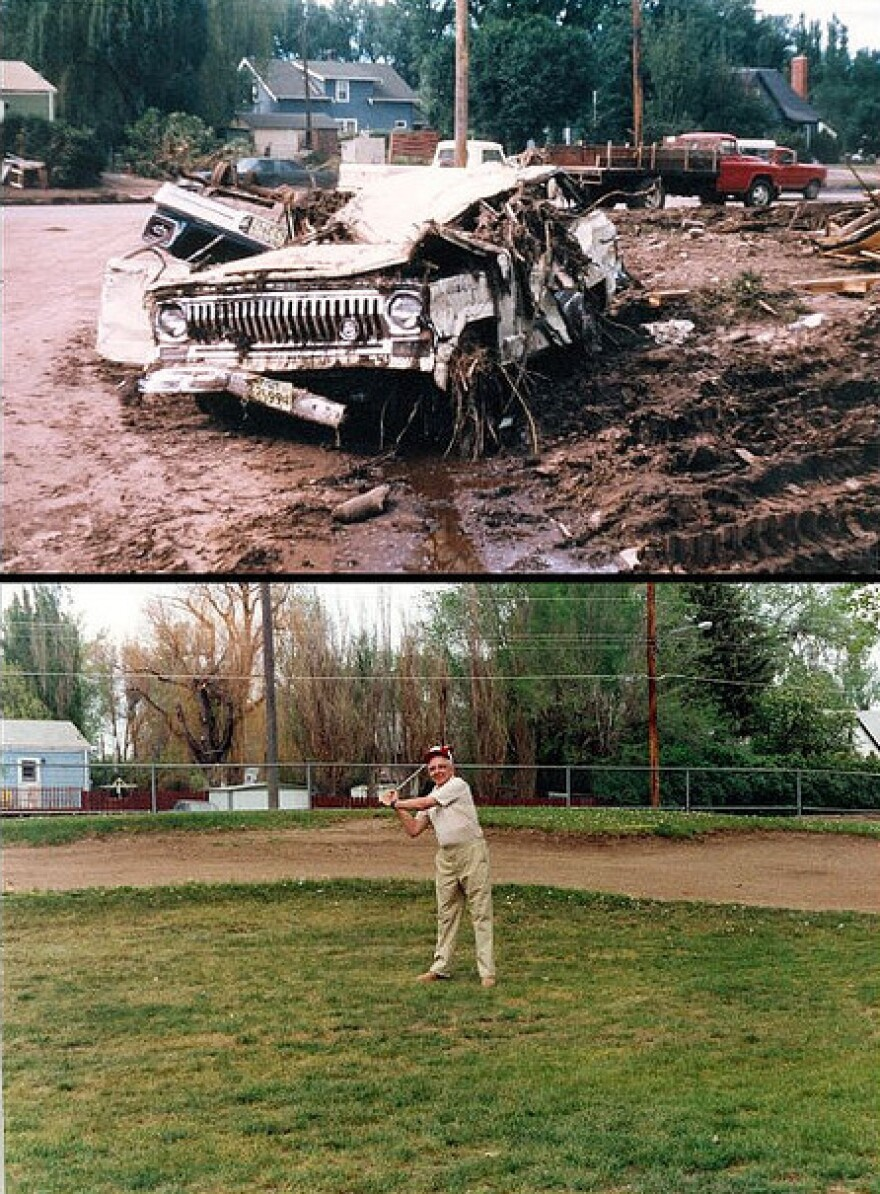 "This man's jeep was destroyed by the flood. In the bottom photo, he tees off 20 years later on a golf course that was built where his neighborhood used to stand. The city prohibited building in the flood plain after 1972. A gallery of before and after images is <a href=""http://www.flickr.com/photos/rcflood1972/"">here</a>."