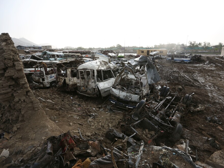 The scene following an April 19 suicide attack in Kabul. The Taliban claimed responsibility.