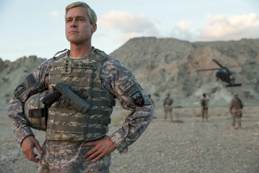 """This image released by Netflix shows Brad Pitt in a scene from """"War Machine."""" (Francois Duhamel/Netflix via AP)"""