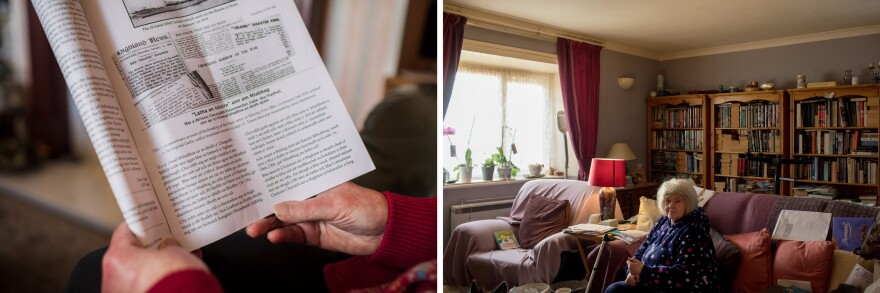 "Left: Annabel Mackinnon reads the bimonthly Uig newspaper in Ardroil, Uig. Mackinnon has used the library service since it began in 1952. Right: Marion Litterick, a retired social worker, at her home in Leverburgh. ""The importance of the library is not just the books,"" she says. ""It's human contact."""