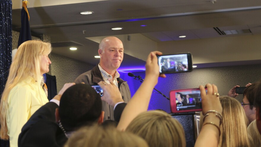 Republican Greg Gianforte greets supporters after winning a special election for the House from Montana last month. He apologized then and now has apologized in writing for assaulting a reporter.
