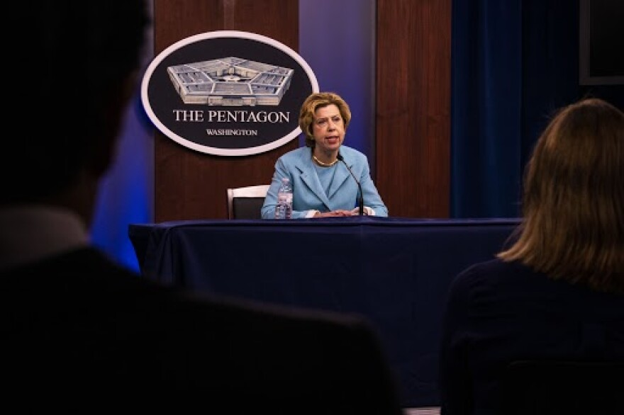 Ellen Lord, undersecretary of defense for acquisition and sustainment, speaks at a Pentagon news conference on the effects of COVID-19 on the military industrial base, on April 20, 2020.