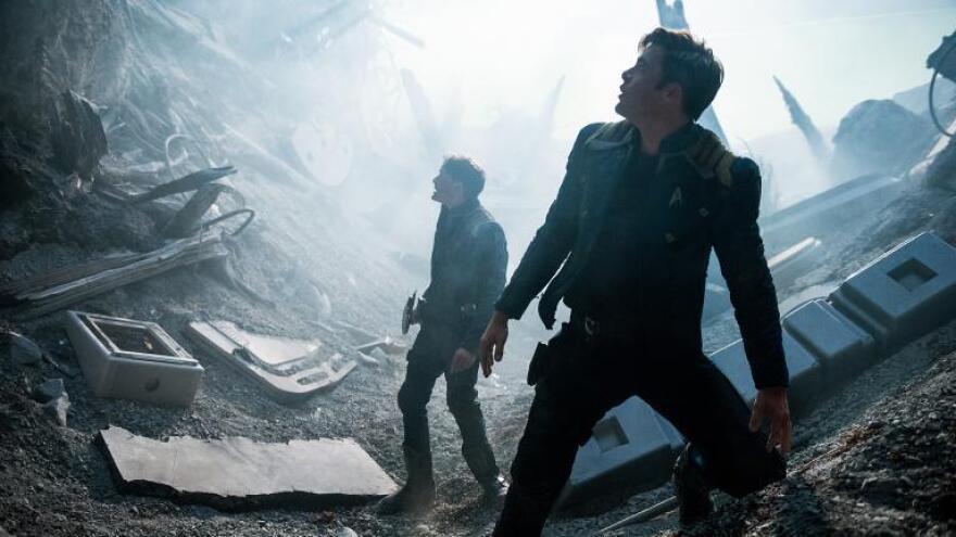 Anton Yelchin and Chris Pine in <em>Star Trek: Beyond</em>.