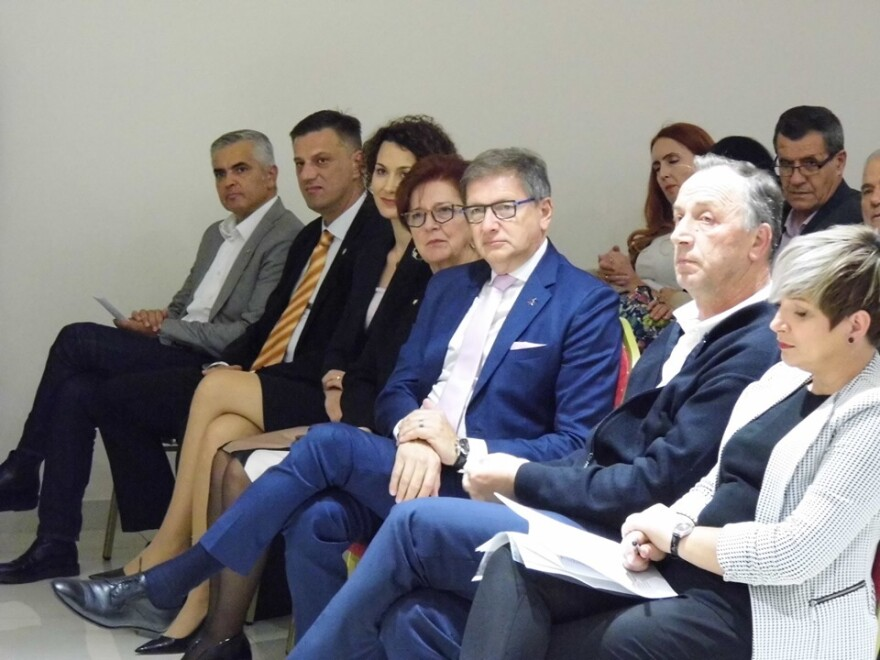 Mirsad Hadzikadic at a political meeting in Bosnia in early October. He says his Platform for Progress party is growing.