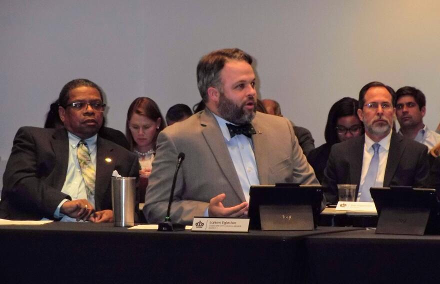 Council member Larken Egleston speaks during Monday's city council dinner meeting.