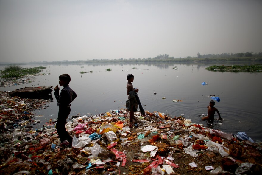 Children who live along the banks of the Yamuna River in ramshackle huts hunt for coins and anything valuable they can collect. The waters are polluted with heavy metals, raw sewage and industrial waste, but they are also a lifeline for scavenging families.