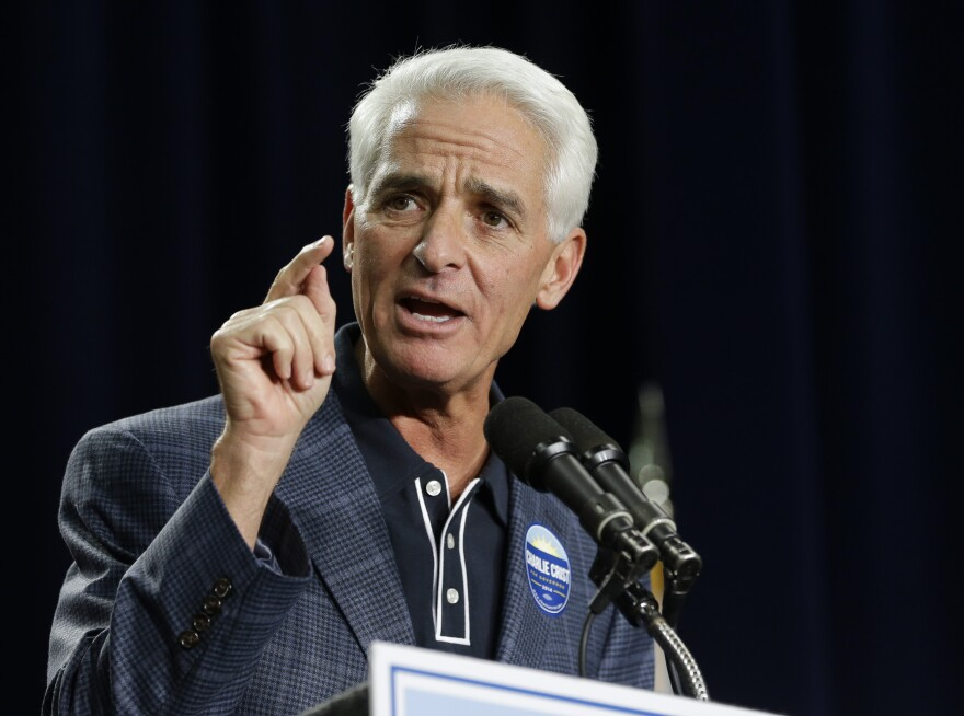 Florida Democratic gubernatorial candidate Charlie Crist speaks to supporters at a campaign event, Monday, Nov. 3, 2014, in Orlando, Fla. Crist, a former Florida Republican governor, is running against Republican Florida Gov. Rick Scott.
