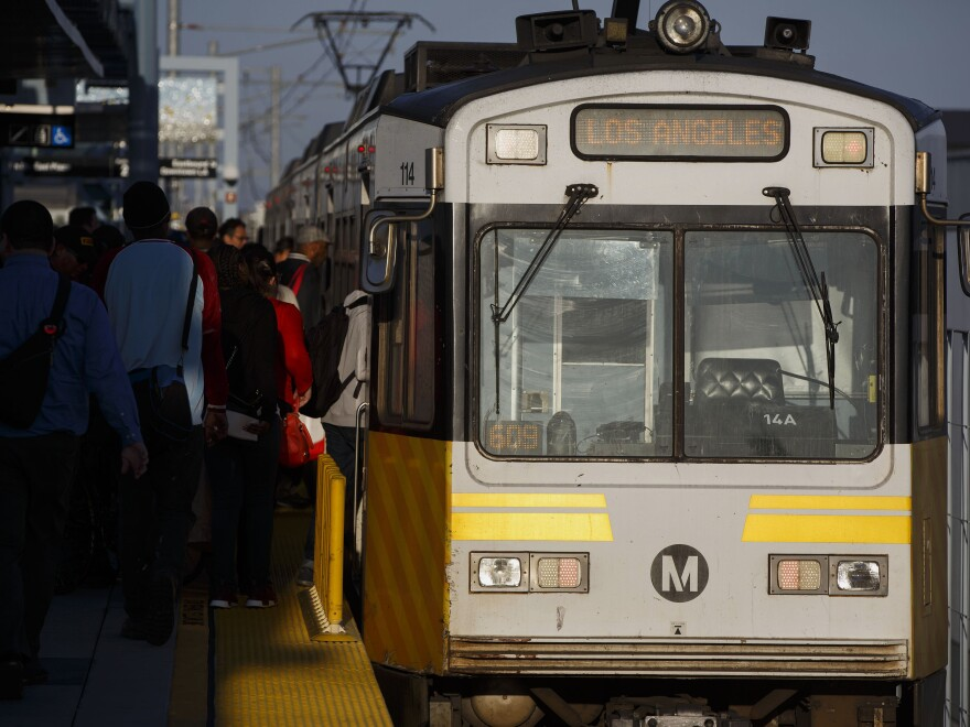 A video of an unidentified woman singing a famous Puccini aria on the platform of a Los Angeles Metro stop has gone viral. Above, passengers board a Metro train at the Culver City station in Culver City, Calif., on April 26, 2016.
