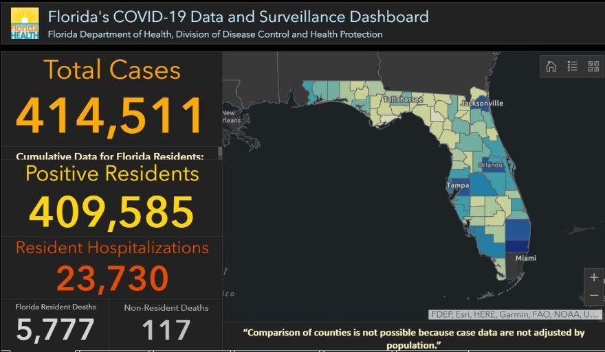 map of Florida Coronavirus cases