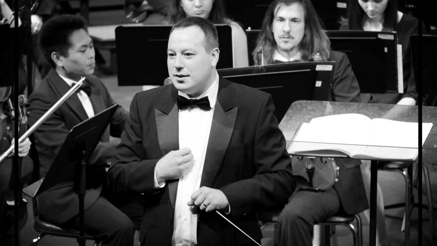 Kyle Wernke conducts the Missouri S&T Orchestra.