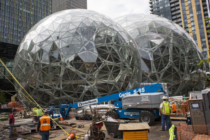 """Amazon says the second headquarters will be a """"full equal"""" to its corporate headquarters in Seattle, Wash., shown here."""