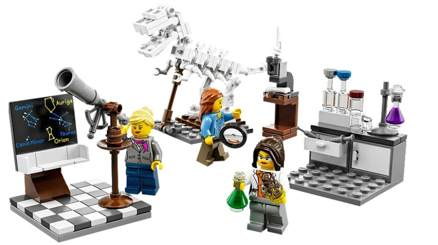 "A product image shows the new Research Institute playset from Lego, which features women in roles as three scientists. In January, the company was criticized by a girl who said all its female characters were ""boring."""