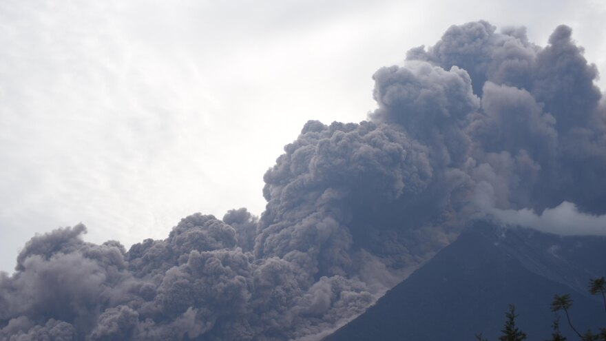 The Fuego volcano in eruption, seen from the Alotenango municipality, about 40 miles southwest of Guatemala City.