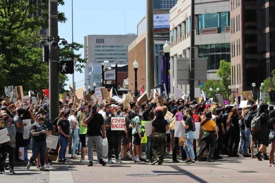 Protestors at Ohio Statehouse Saturday