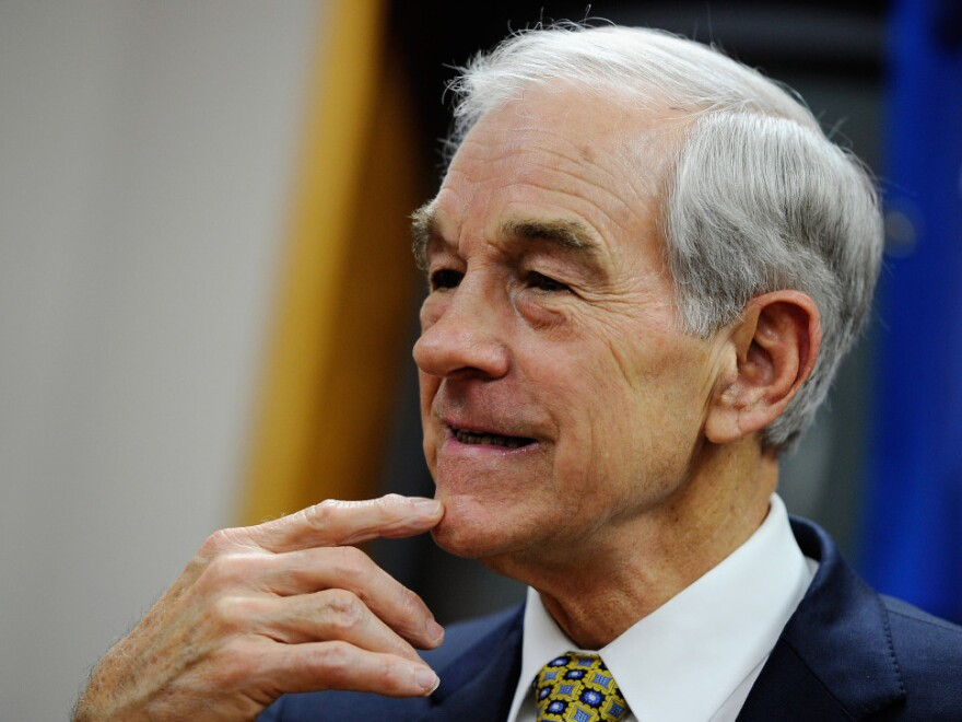 Republican presidential candidate Ron Paul spoke at a town hall meeting at the Ericson Public Library in Boone, Iowa, on Thursday before a university rally.