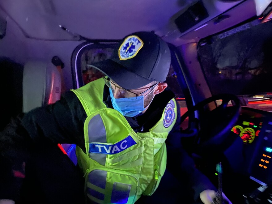 Volunteer with the Teaneck Ambulance Volunteer Corps Amiel Rimberg, 22, responds to a motor vehicle accident on the highway on Dec. 10.