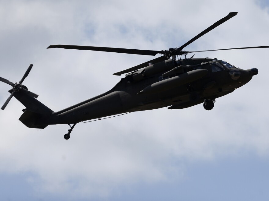 A U.S. UH-60 Black Hawk helicopter flies in a training exercise in 2015.