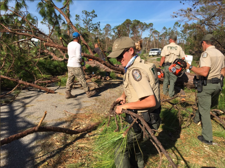 Florida Fish and Wildlife Conservation Commissions members perform search and rescue in the Panhandle last week.