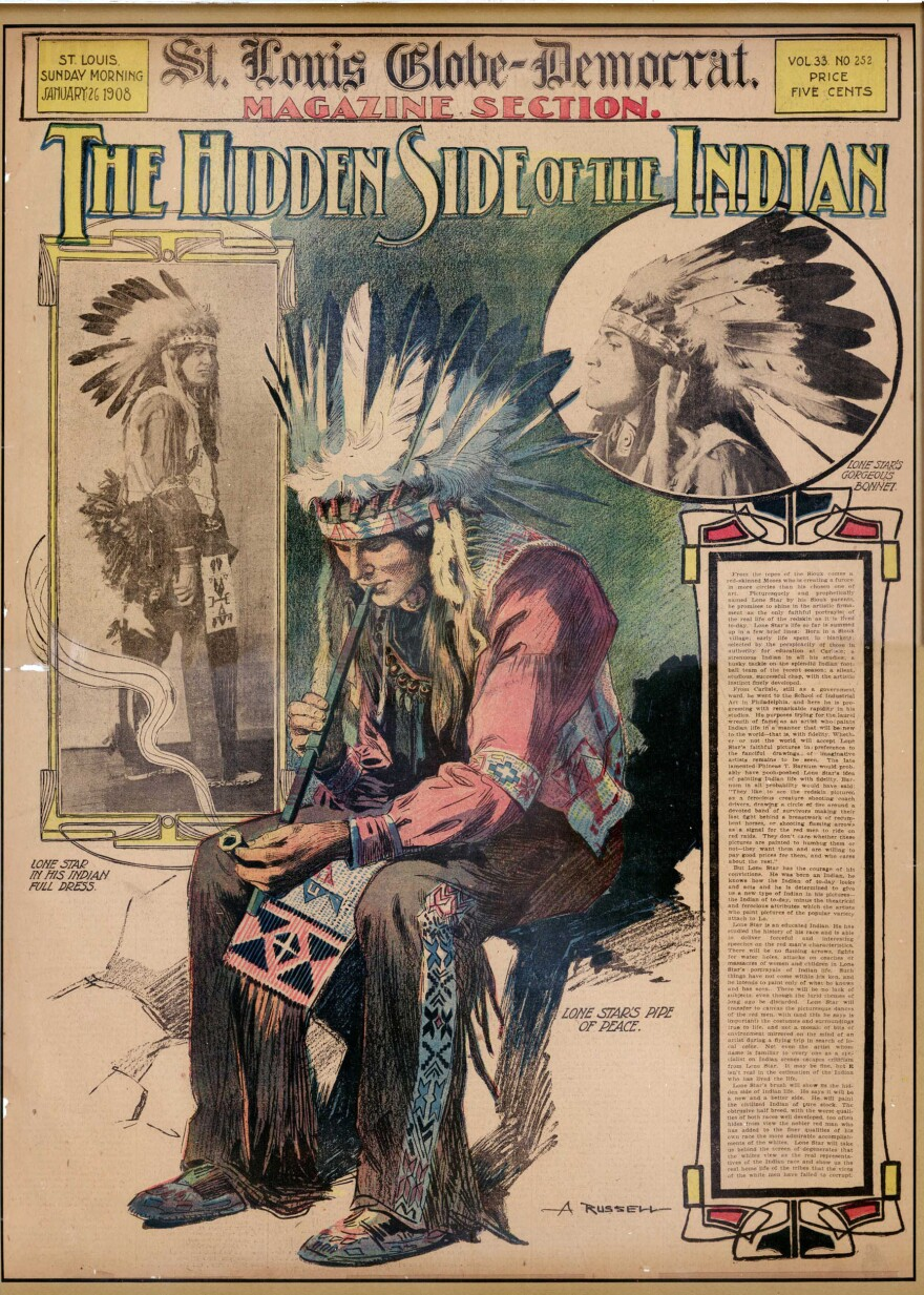 """The cover of the <em>St. Louis Globe-Democrat</em> Sunday supplement from January 1908 shows William """"Lone Star"""" Dietz, who in 1916 coached Washington State University to a Rose Bowl victory, in full Indian dress. Some credit Dietz with inspiring the name of the Redskins."""
