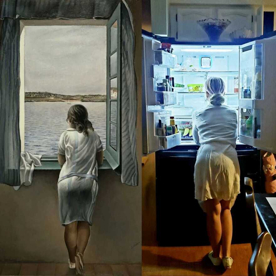 Kira Yastrebova remade Salvador Dalí's <em>Figure at a Window</em>, with her refrigerator substituting for Dalí's waterside view.