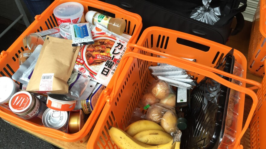 A standard basket of donated food that's available for pickup once a month for Japanese families in need, from the non-profit food bank Second Harvest.