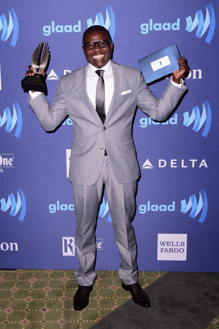 """Pepe Julian Onziema, a transgender activist in Uganda, won a GLAAD Media Award last year for outstanding talk show episode. He was honored for an interview with John Oliver on HBO's <em>Last Week Tonight.</em> Asked, """"Are you safe in Uganda,"""" Onziema said, """"Not really. I""""m not exactly safe. But to an extent I'm safe because I stand my ground."""""""