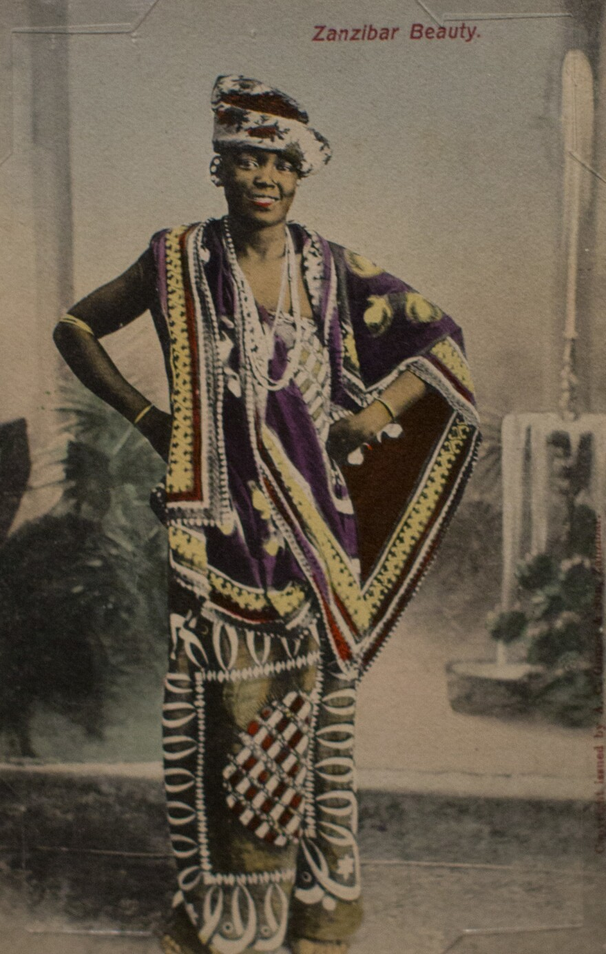 <em>Zanzibar Beauty</em> by A.C. Gomes & Son. Photograph taken before 1900; postcard printed between 1907 and 1908.