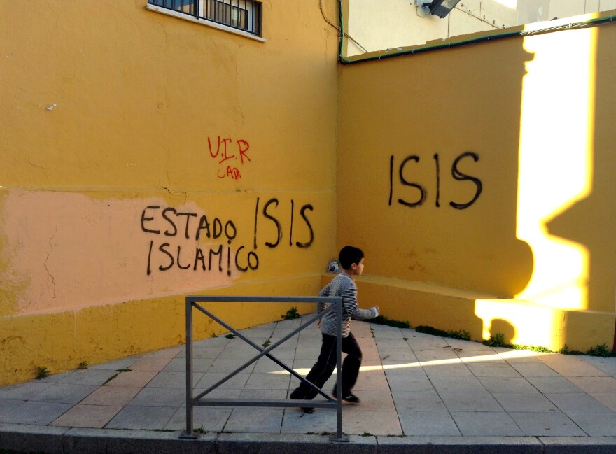 Pro-ISIS graffiti adorns a wall in a poor Muslim neighborhood in Ceuta. Along with its sister city Melilla, Ceuta has contributed more recruits per capita to the self-declared Islamic State than any other town in Europe.